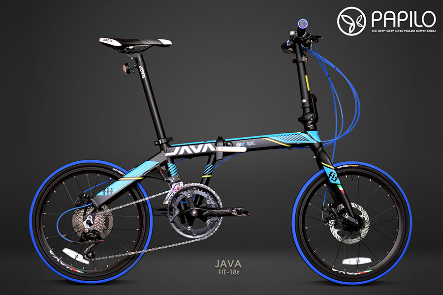 xe dap gap Java Fit18s xanh den