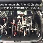 Duy nhất ngày 1/1/2018: Mua xe đạp gấp tặng ngay Voucher mua phụ kiện trị giá 500K