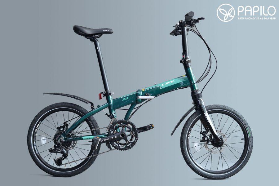 Xe đạp gấp Life - Z1 được gắn thêm chắn bùn rút (không đi kèm theo nhà sản xuất- trang bị thêm)