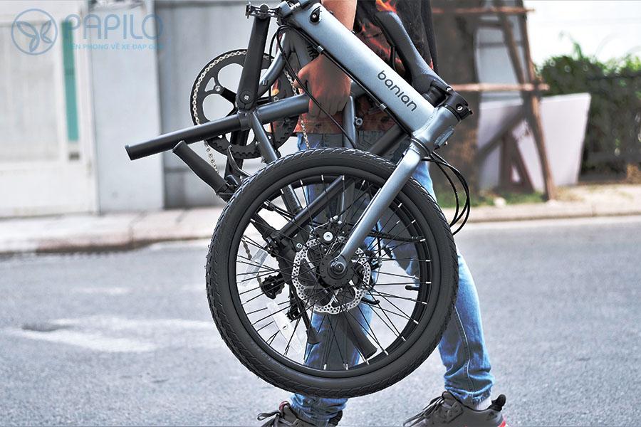 Xe đạp gấp Banian D10 khung hợp kim nhôm siêu nhẹ, xách xe dễ dàng